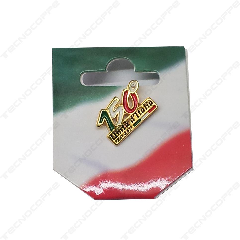 Portachiavi tricolore in metallo Commemorativo 150° Anniversario Unità d/'Italia