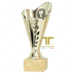 Premio Sportivo Riconoscimento tecnocoppe Coppa h 14,50 cm ABS con Tazza Tricolore e Base in Marmo Chiaro Targhetta Personalizzata Omaggio Premiazione Fantacalcio